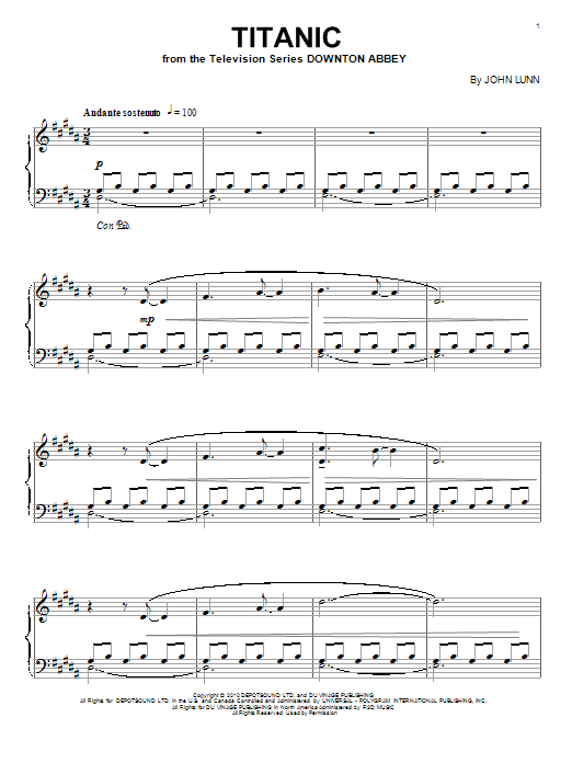 Download John Lunn 'Titanic' Digital Sheet Music Notes & Chords and start playing in minutes