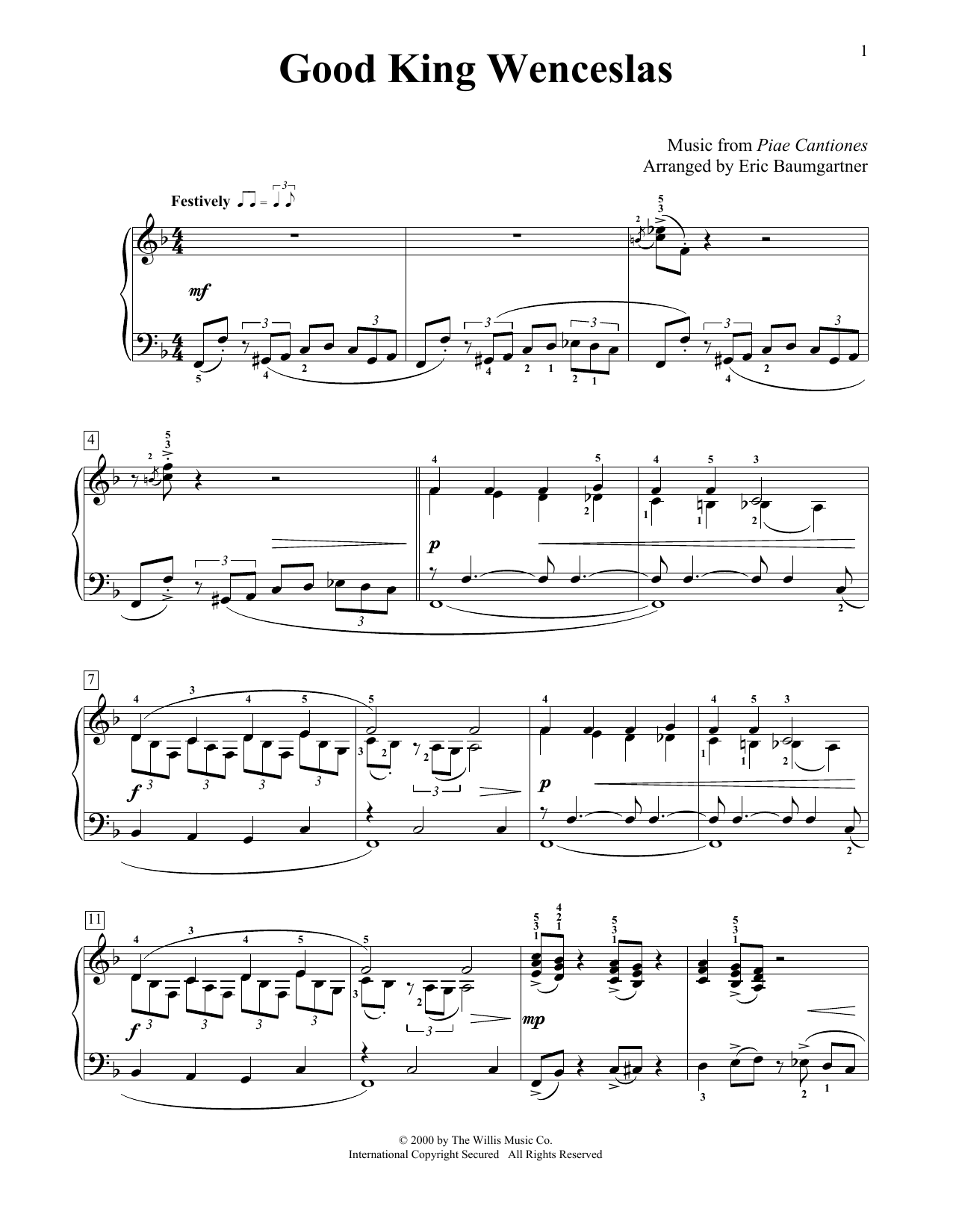 Christmas Carol Good King Wenceslas sheet music preview music notes and score for Easy Piano including 4 page(s)