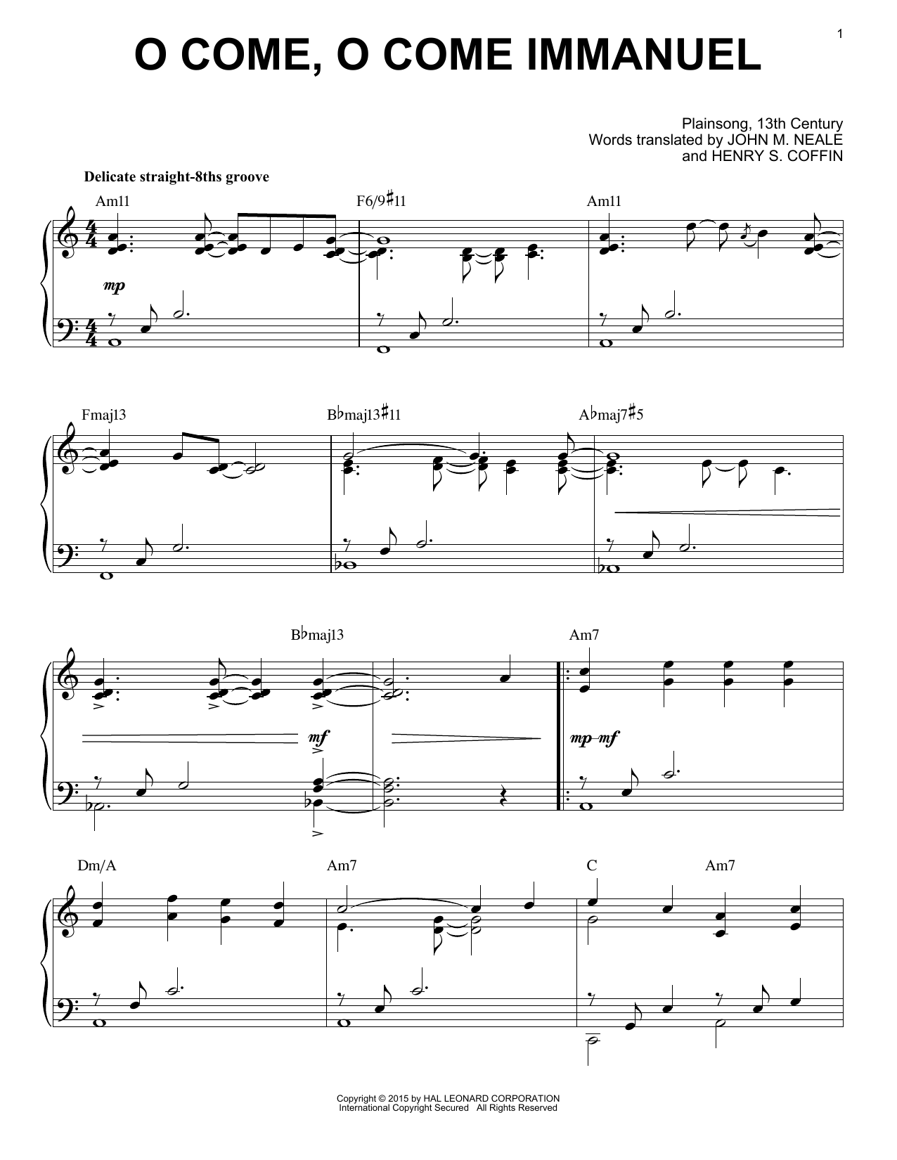 Download Traditional Carol 'O Come, O Come Immanuel' Digital Sheet Music Notes & Chords and start playing in minutes