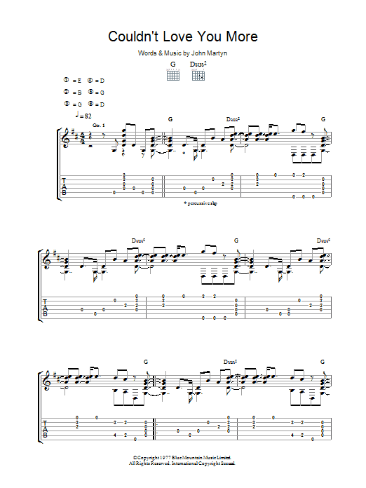 John Martyn Couldn't Love You More sheet music preview music notes and score for Guitar Tab including 5 page(s)