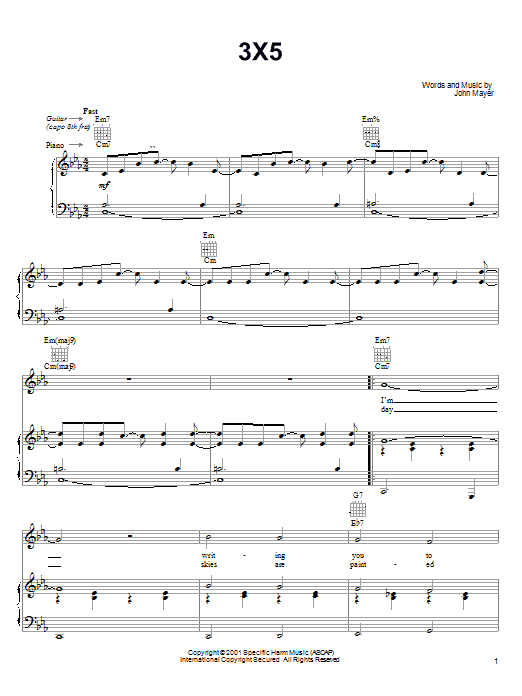 John Mayer 3X5 sheet music notes and chords