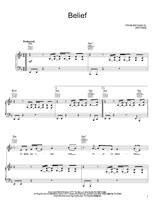 John Mayer Belief sheet music preview music notes and score for Guitar Tab including 12 page(s)