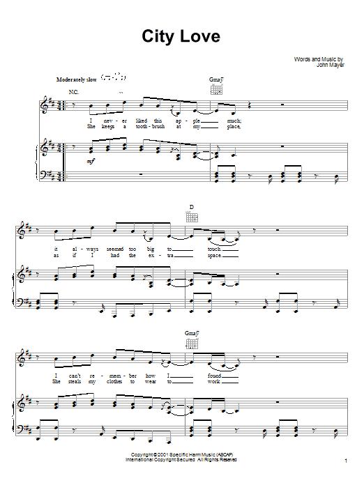 John Mayer City Love sheet music notes and chords