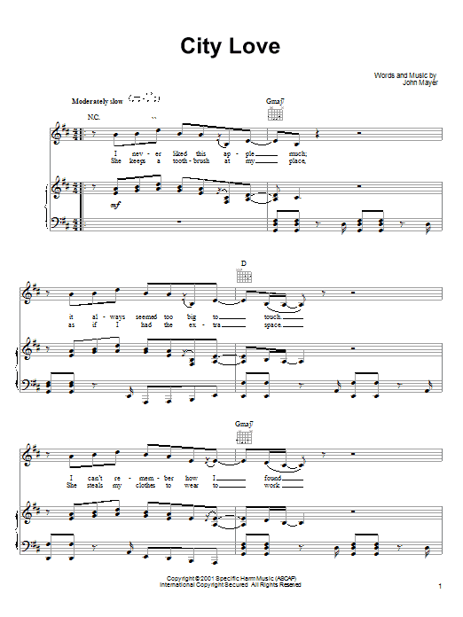 John Mayer City Love sheet music preview music notes and score for Easy Guitar including 4 page(s)