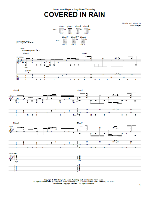 John Mayer Covered In Rain sheet music preview music notes and score for Guitar Tab including 22 page(s)
