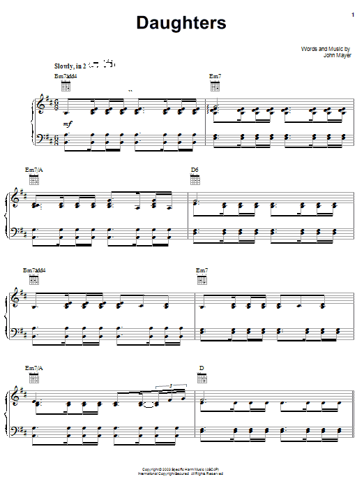 John Mayer Daughters sheet music preview music notes and score for Piano, Vocal & Guitar (Right-Hand Melody) including 8 page(s)