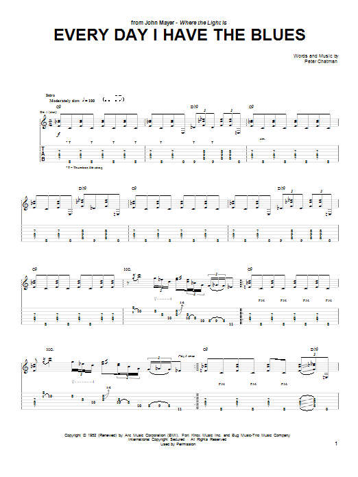 John Mayer Every Day I Have The Blues sheet music preview music notes and score for Guitar Tab including 7 page(s)