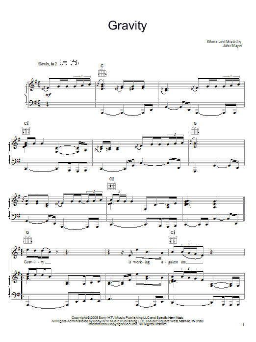 John Mayer Gravity sheet music preview music notes and score for Guitar Tab including 15 page(s)