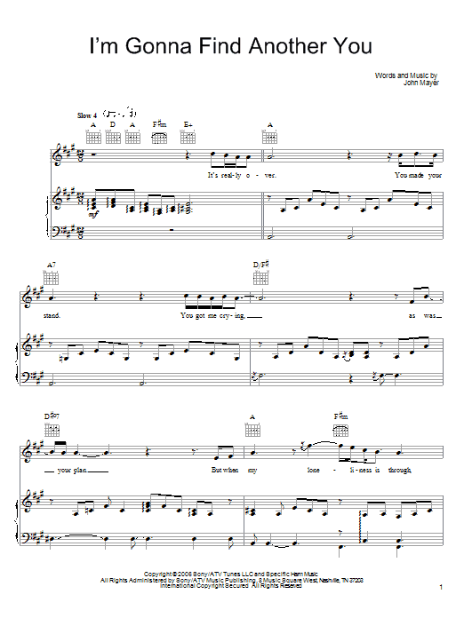 John Mayer I'm Gonna Find Another You sheet music preview music notes and score for Guitar Tab including 9 page(s)