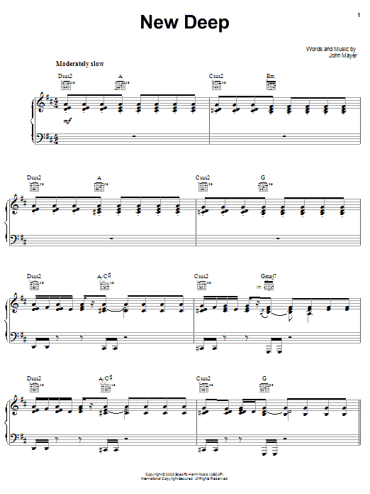John Mayer New Deep sheet music preview music notes and score for Piano, Vocal & Guitar (Right-Hand Melody) including 7 page(s)