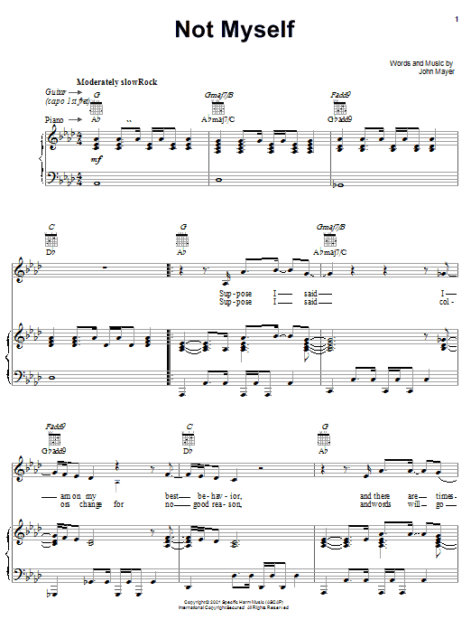 John Mayer Not Myself sheet music notes and chords