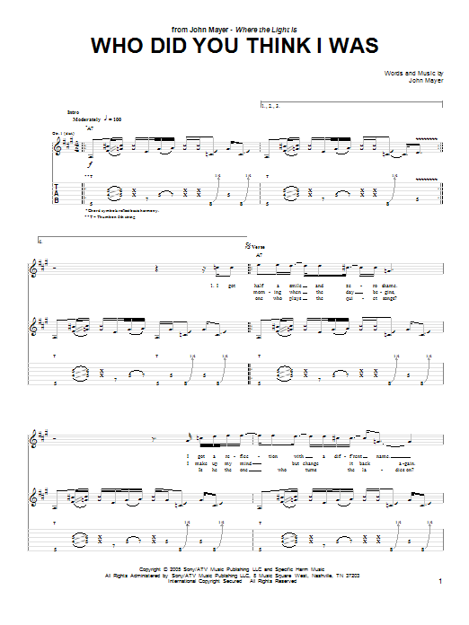 John Mayer Who Did You Think I Was sheet music preview music notes and score for Guitar Tab including 9 page(s)