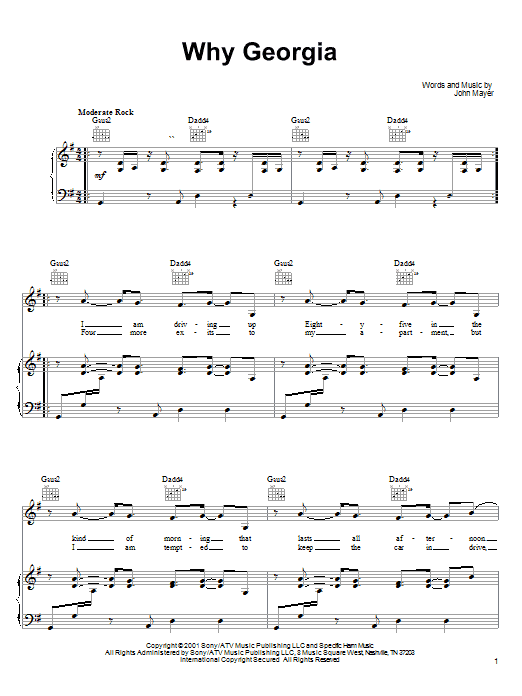 John Mayer Why Georgia sheet music notes and chords