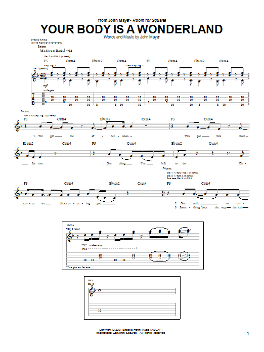 John Mayer Your Body Is A Wonderland sheet music preview music notes and score for Easy Guitar including 4 page(s)