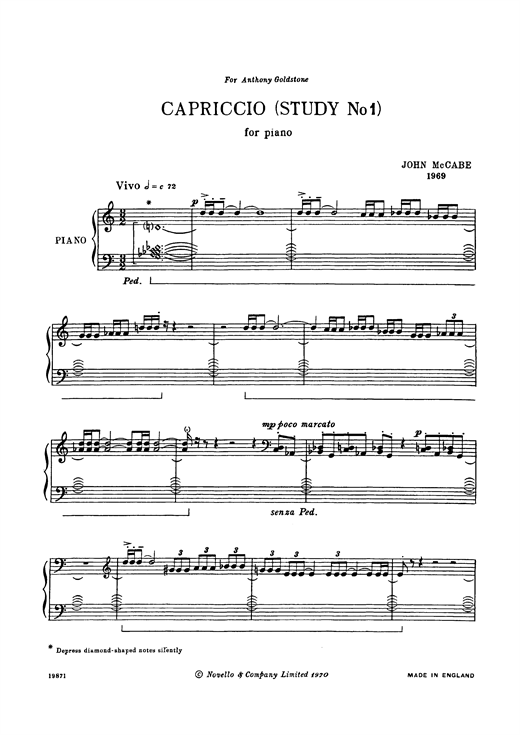 John McCabe Capriccio (Study No. 1) sheet music notes and chords