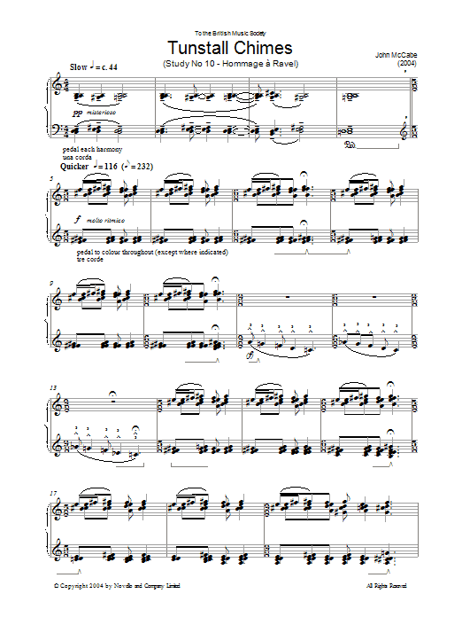 John McCabe Tunstall Chimes, Study No. 10 - Hommage A Ravel sheet music preview music notes and score for Piano including 11 page(s)