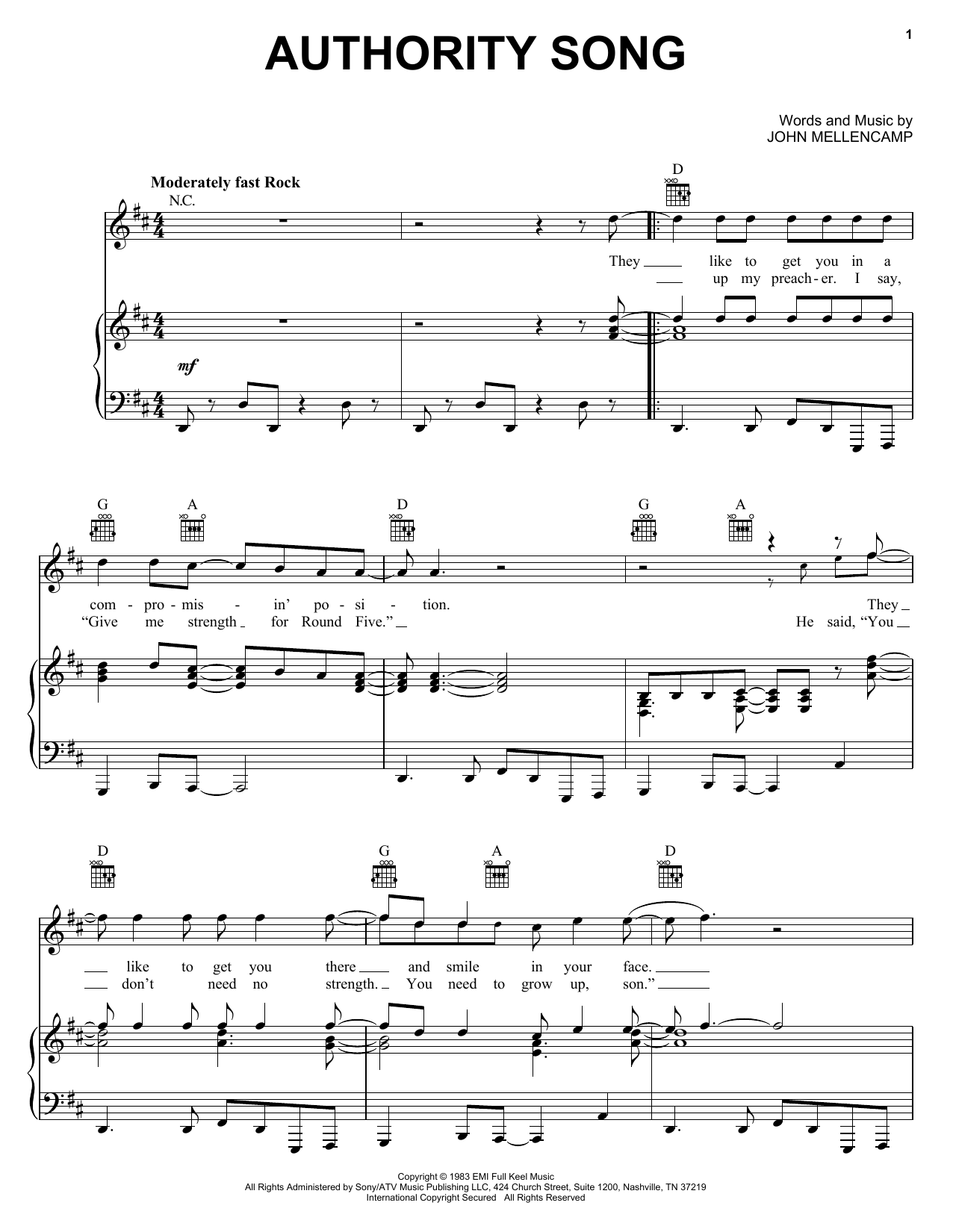 John Mellencamp Authority Song sheet music preview music notes and score for Lyrics & Chords including 3 page(s)