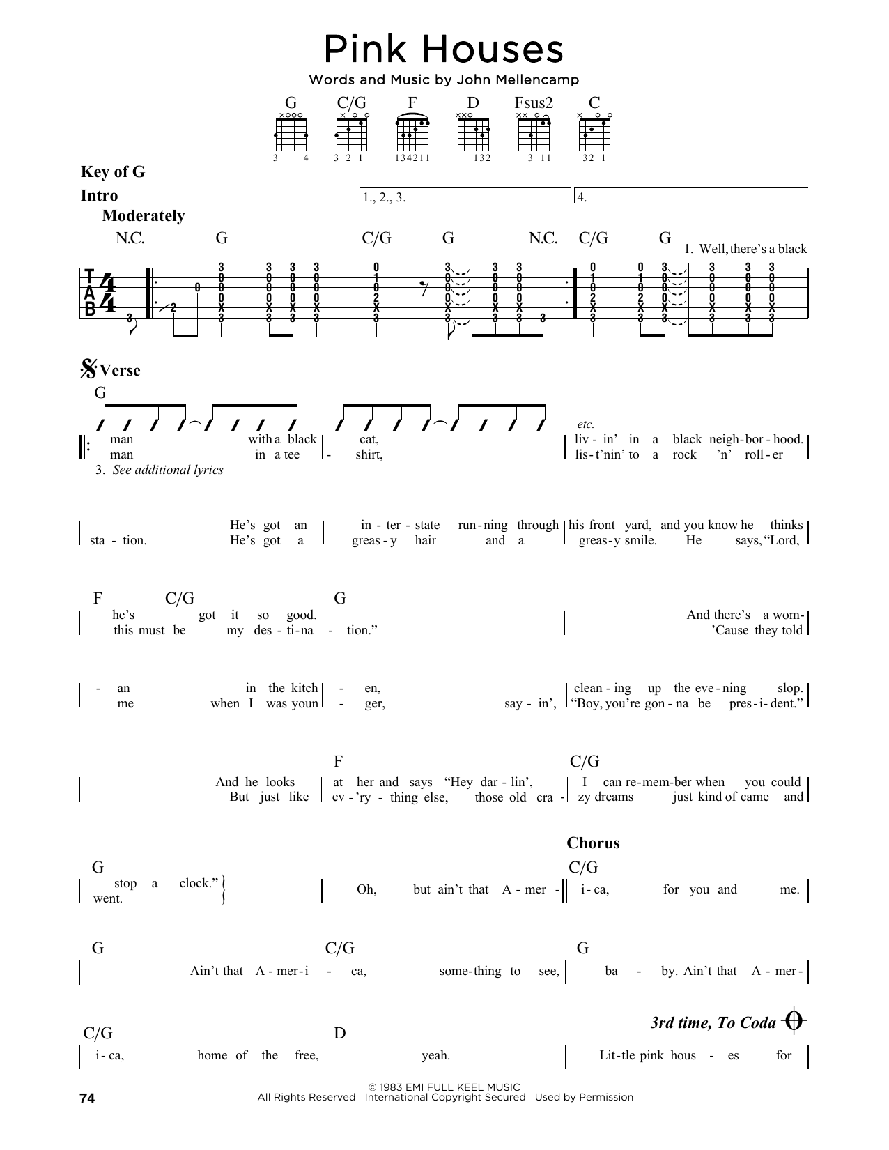 John Mellencamp Pink Houses sheet music preview music notes and score for Guitar Tab including 8 page(s)