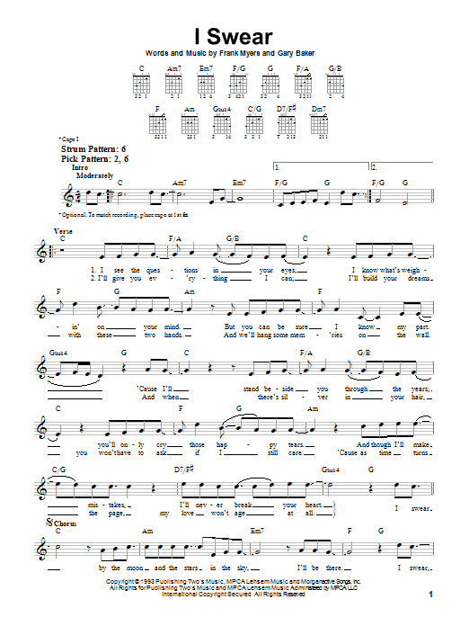 John Michael Montgomery I Swear sheet music preview music notes and score for Easy Piano including 3 page(s)
