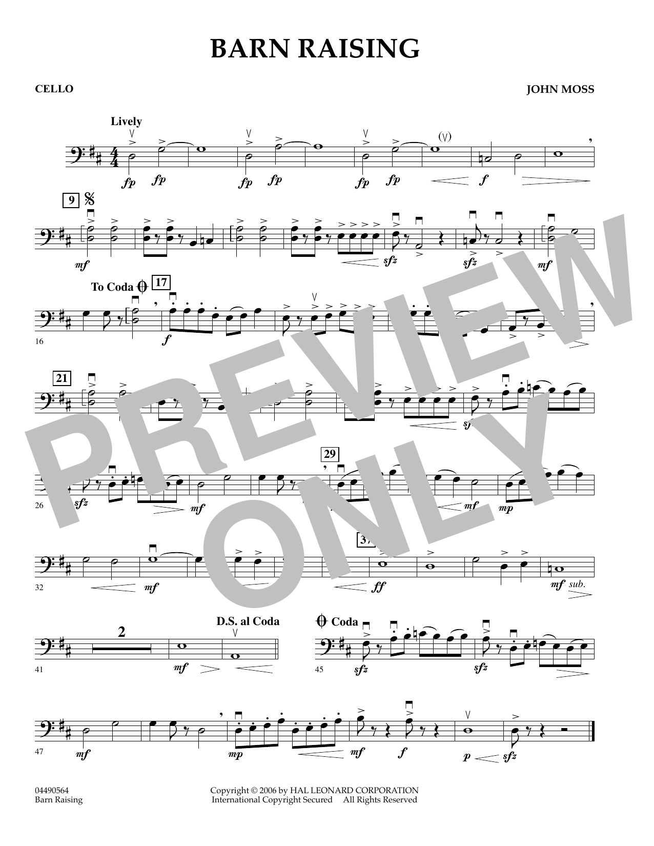 John Moss Barn Raising - Cello sheet music preview music notes and score for Orchestra including 1 page(s)