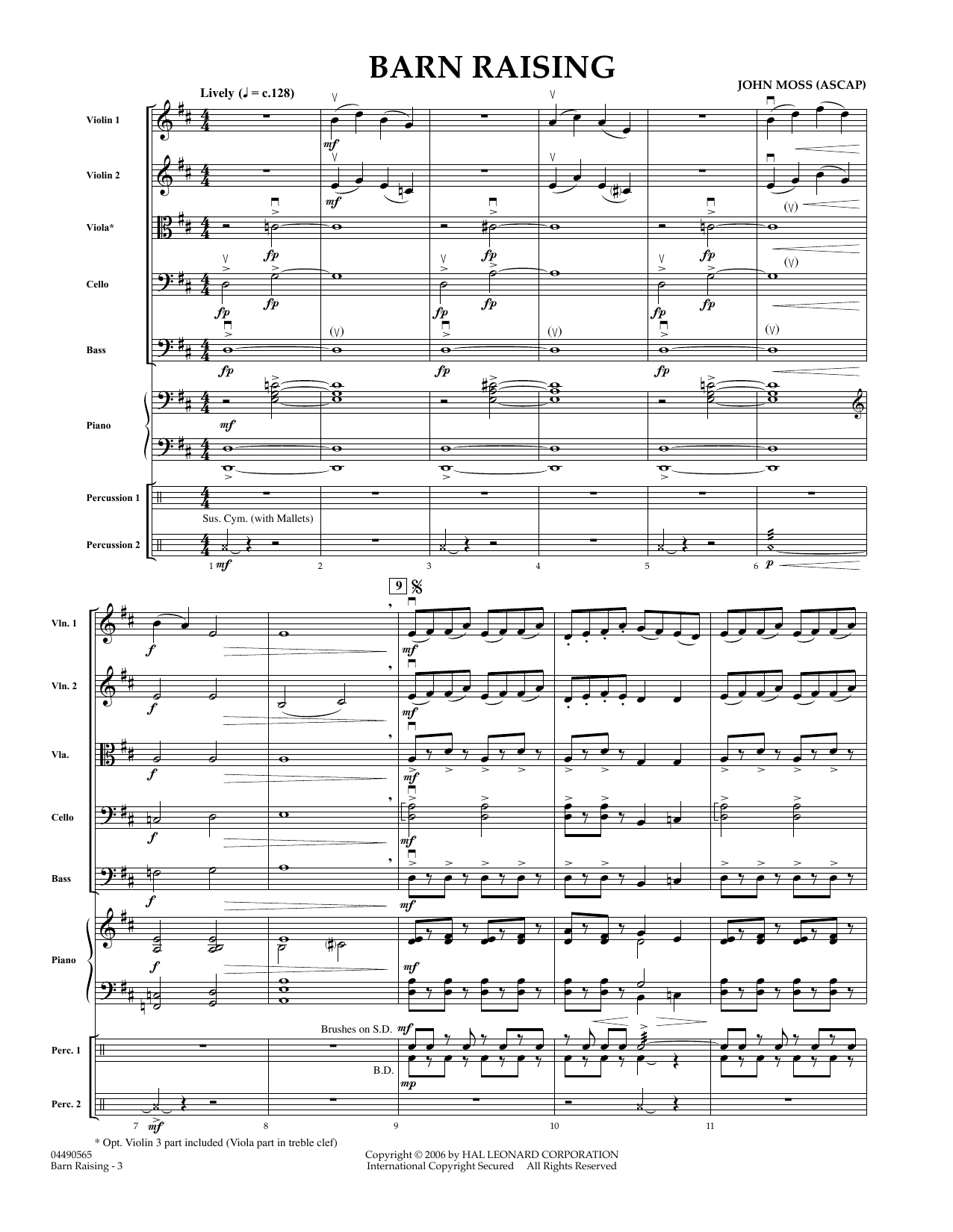 John Moss Barn Raising - Full Score sheet music preview music notes and score for Orchestra including 5 page(s)
