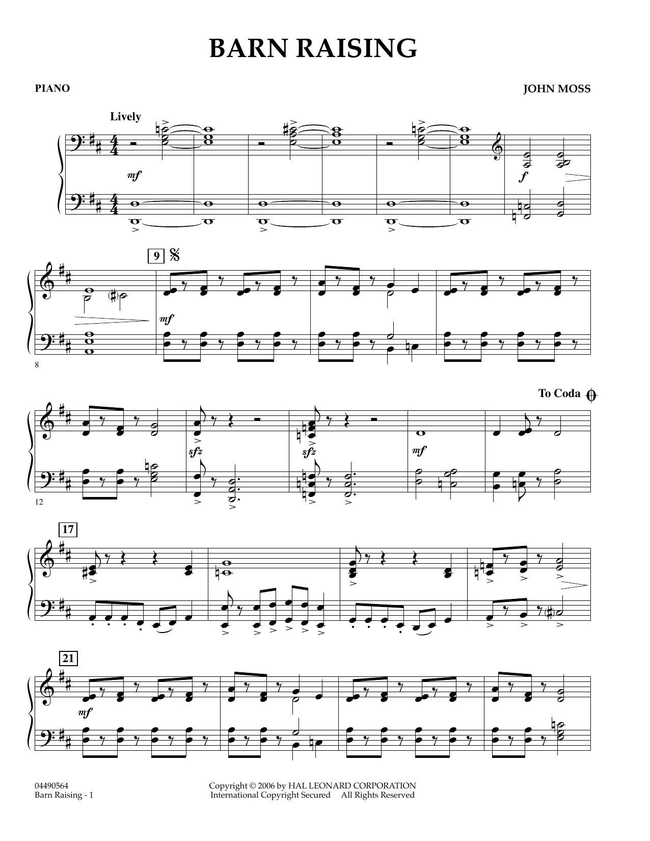 John Moss Barn Raising - Percussion 1 sheet music preview music notes and score for Orchestra including 2 page(s)