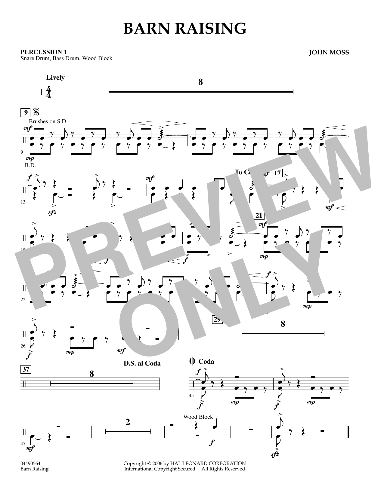 John Moss Barn Raising - Percussion 2 sheet music preview music notes and score for Orchestra including 1 page(s)