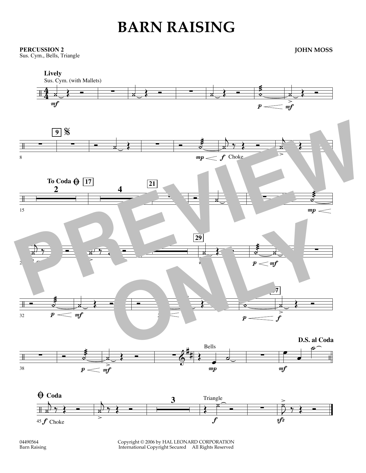John Moss Barn Raising - Piano sheet music preview music notes and score for Orchestra including 1 page(s)