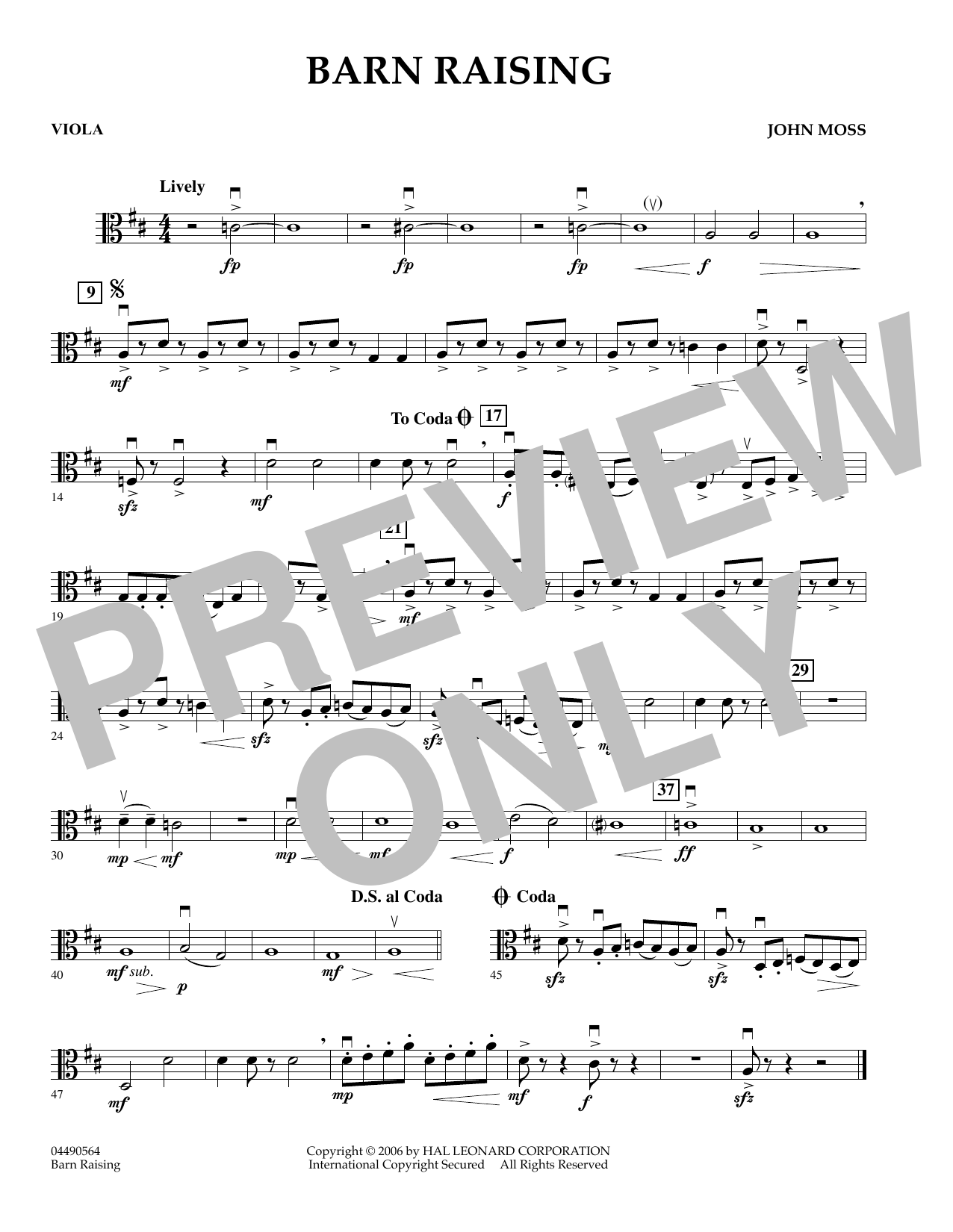 John Moss Barn Raising - Viola sheet music preview music notes and score for Orchestra including 1 page(s)