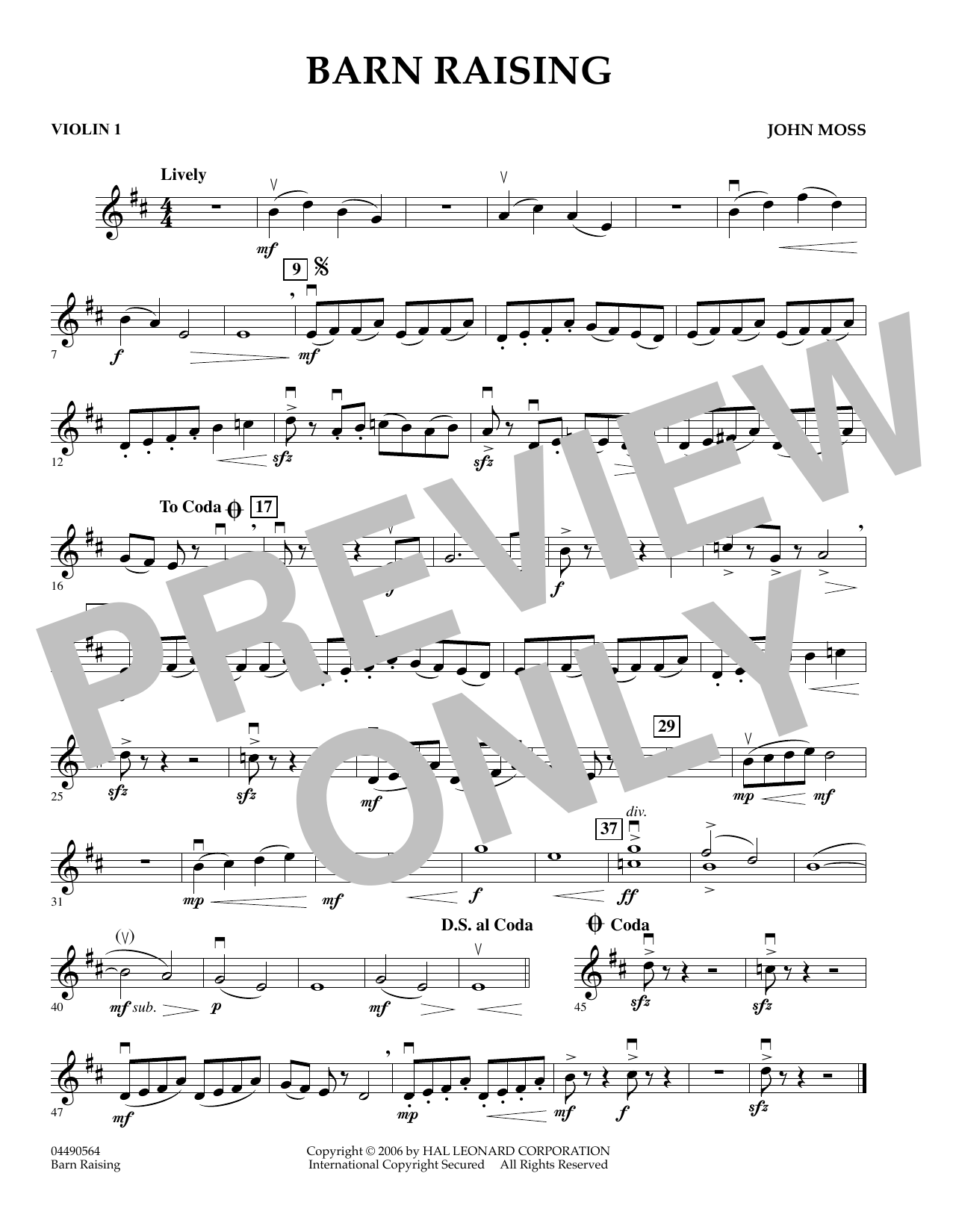 John Moss Barn Raising - Violin 1 sheet music preview music notes and score for Orchestra including 1 page(s)