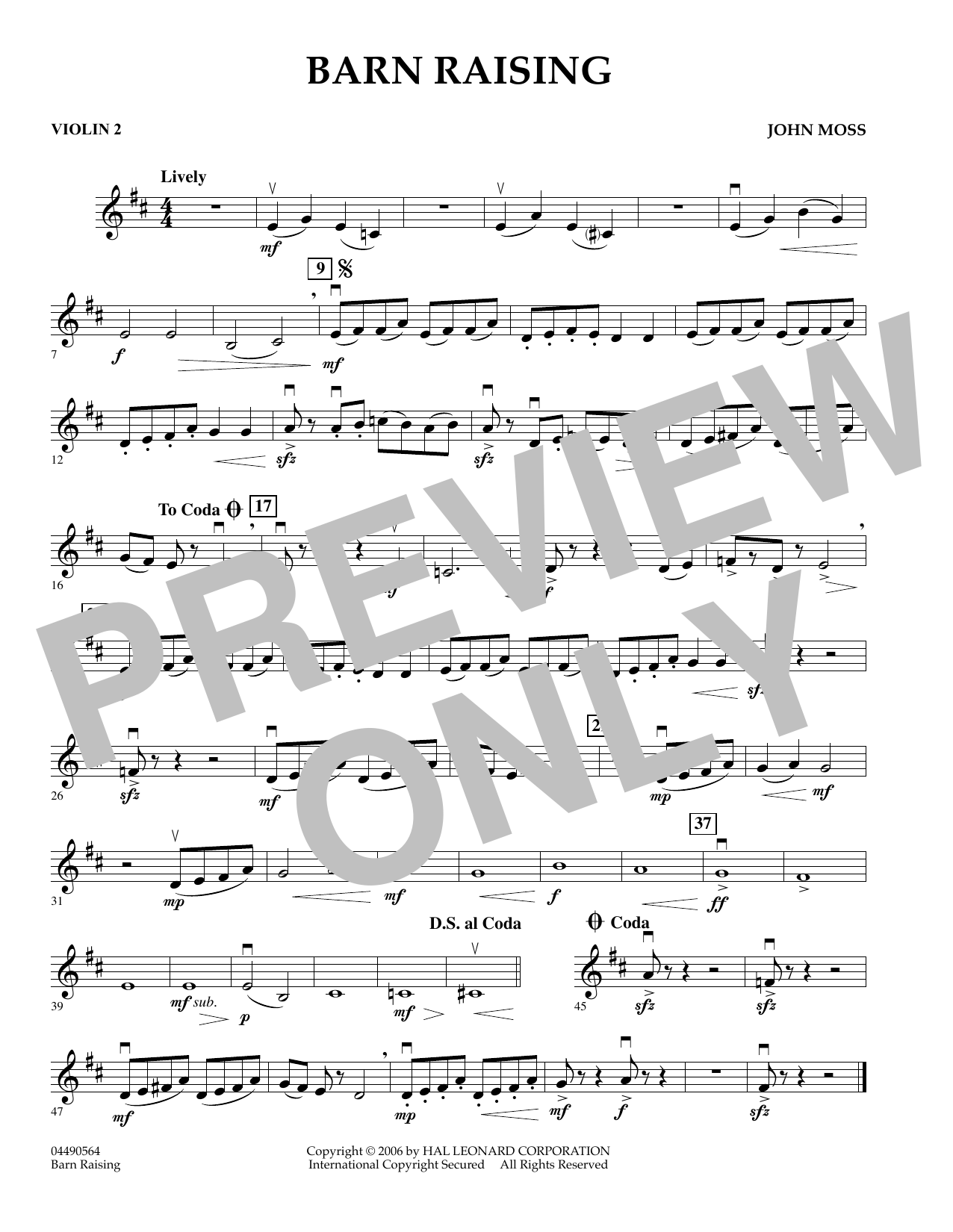 John Moss Barn Raising - Violin 2 sheet music preview music notes and score for Orchestra including 1 page(s)