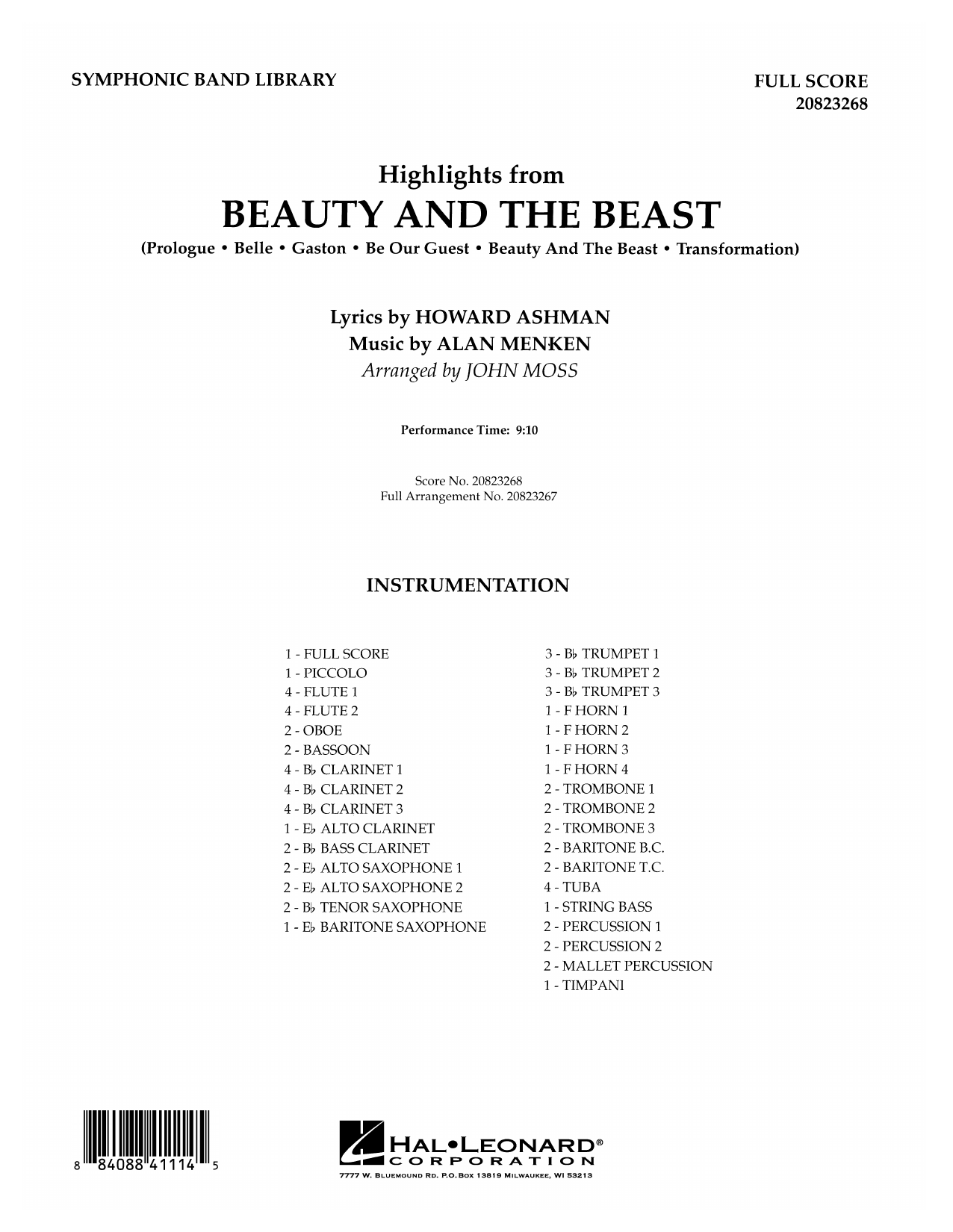 John Moss Highlights from Beauty and the Beast - Full Score sheet music preview music notes and score for Concert Band including 44 page(s)