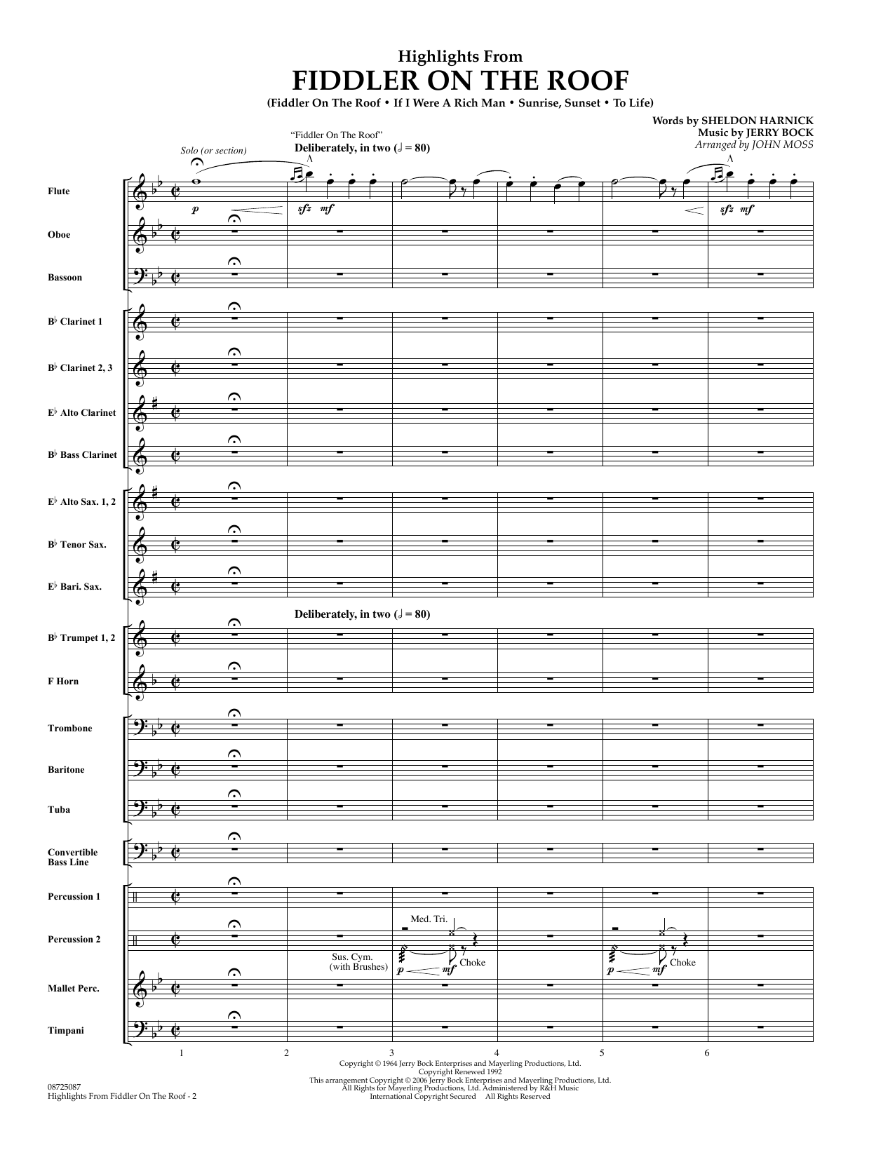 John Moss Highlights From Fiddler On The Roof - Full Score sheet music preview music notes and score for Concert Band including 23 page(s)