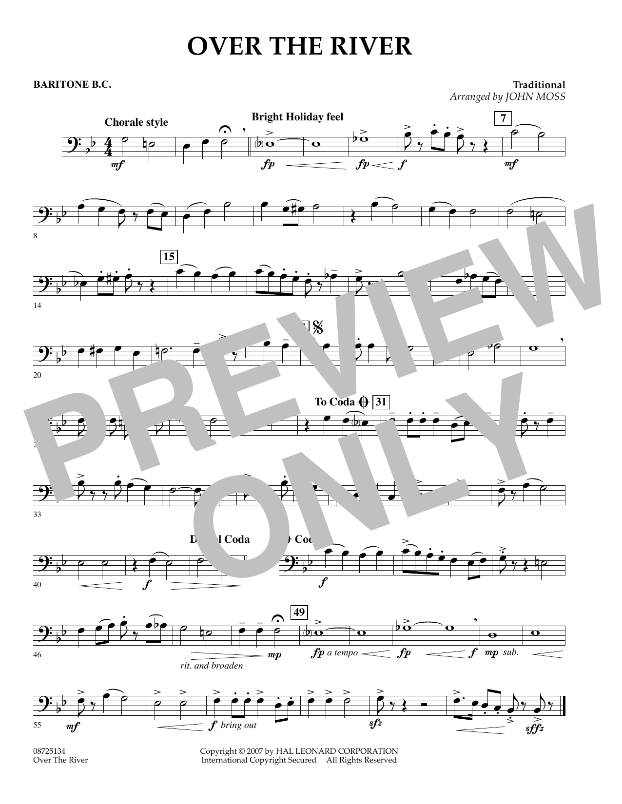 John Moss Over the River - Baritone B.C. sheet music preview music notes and score for Concert Band including 1 page(s)