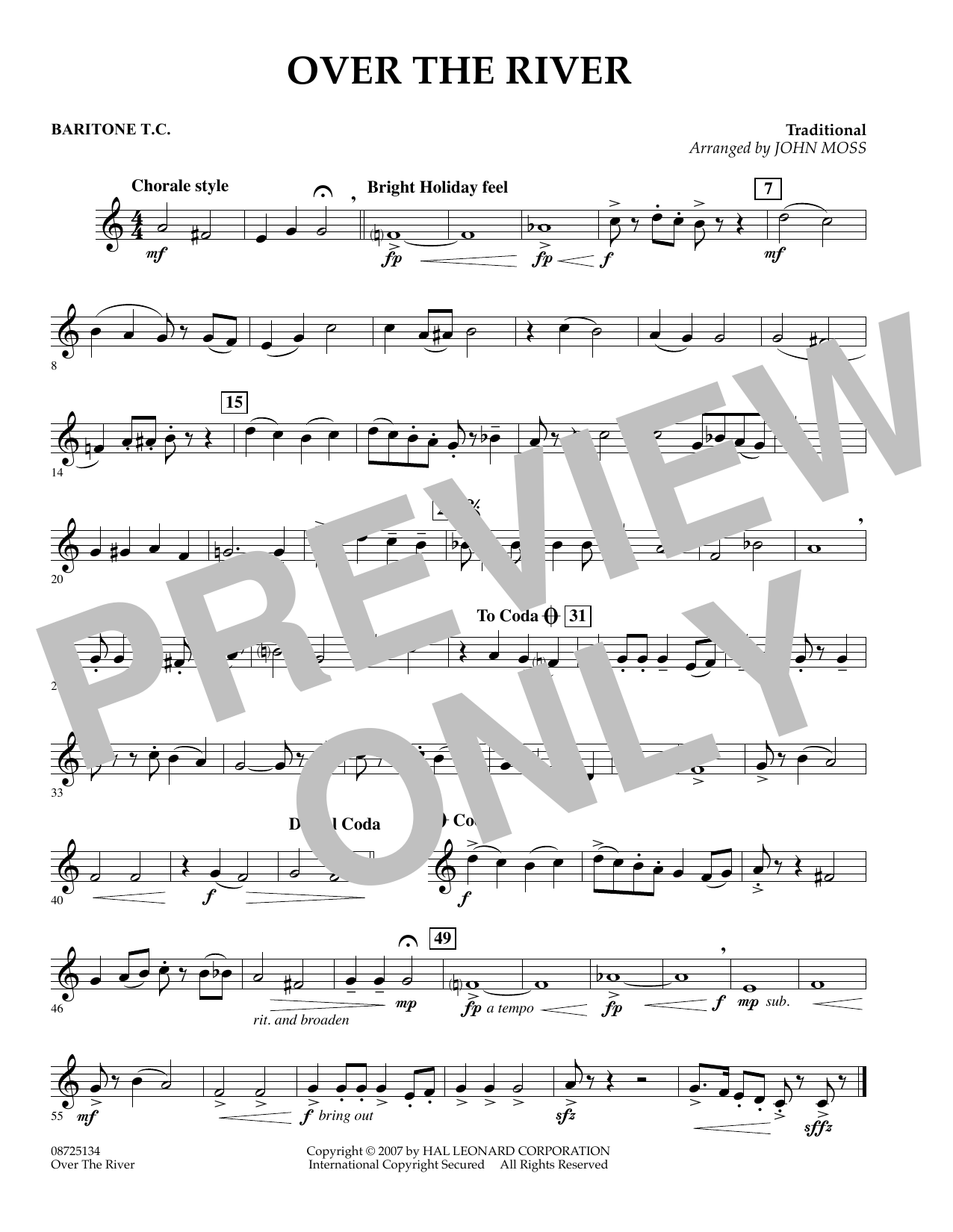 John Moss Over the River - Baritone T.C. sheet music preview music notes and score for Concert Band including 1 page(s)