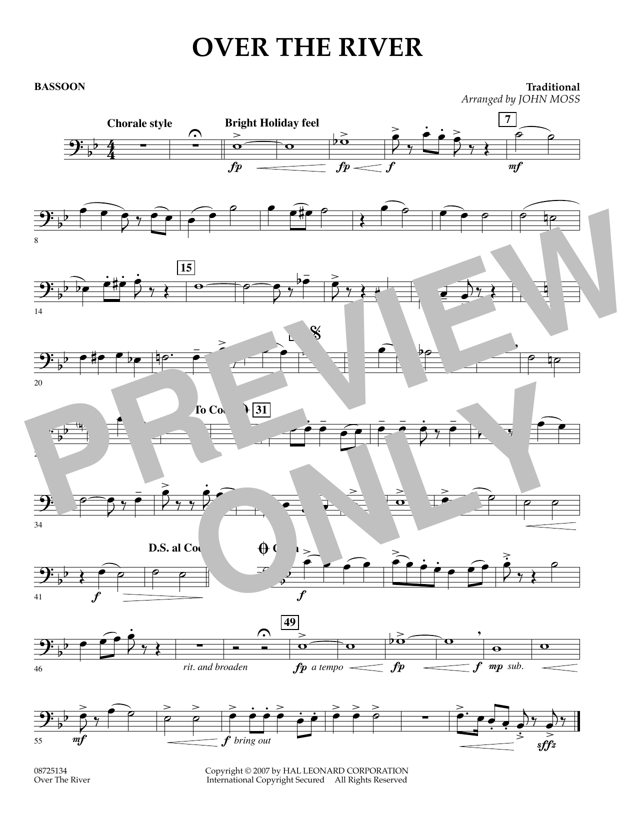 John Moss Over the River - Bassoon sheet music preview music notes and score for Concert Band including 1 page(s)