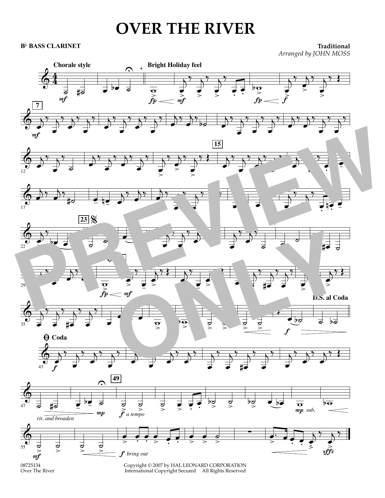 John Moss Over the River - Bb Bass Clarinet sheet music preview music notes and score for Concert Band including 1 page(s)