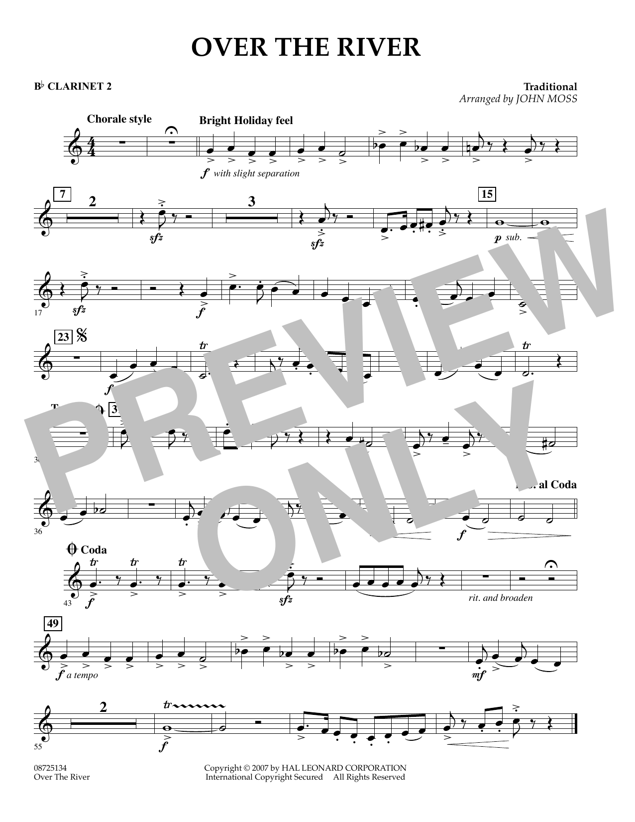 John Moss Over the River - Bb Clarinet 2 sheet music preview music notes and score for Concert Band including 1 page(s)