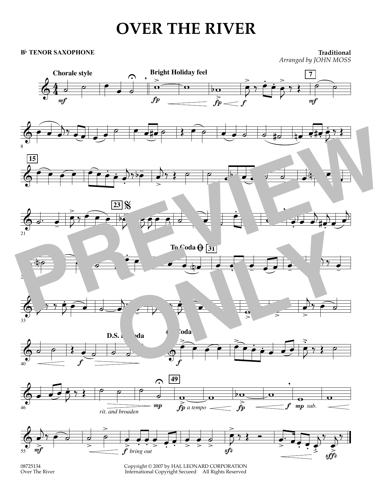 John Moss Over the River - Bb Tenor Saxophone sheet music preview music notes and score for Concert Band including 1 page(s)