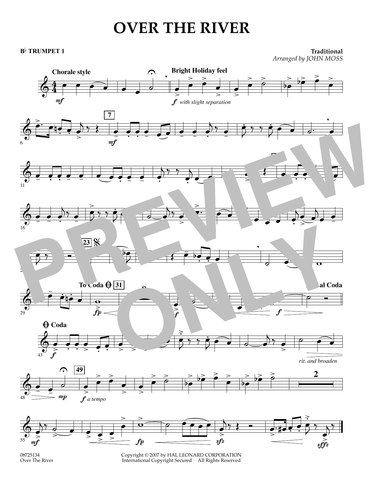 John Moss Over the River - Bb Trumpet 1 sheet music preview music notes and score for Concert Band including 1 page(s)