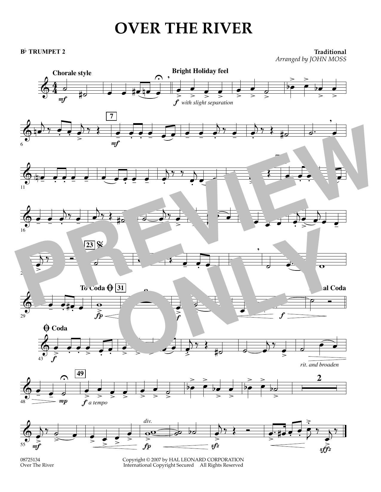 John Moss Over the River - Bb Trumpet 2 sheet music preview music notes and score for Concert Band including 1 page(s)