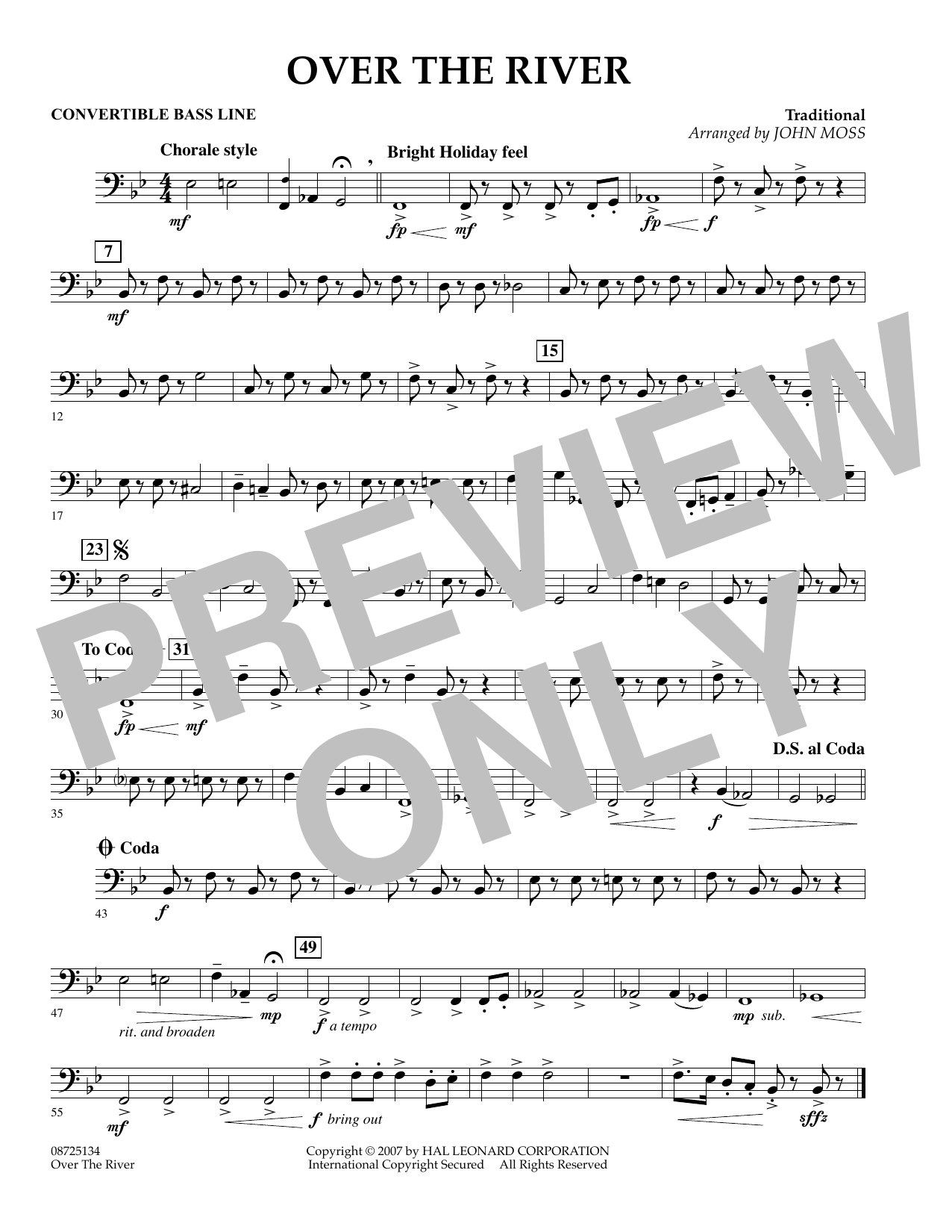 John Moss Over the River - Convertible Bass Line sheet music preview music notes and score for Concert Band including 1 page(s)