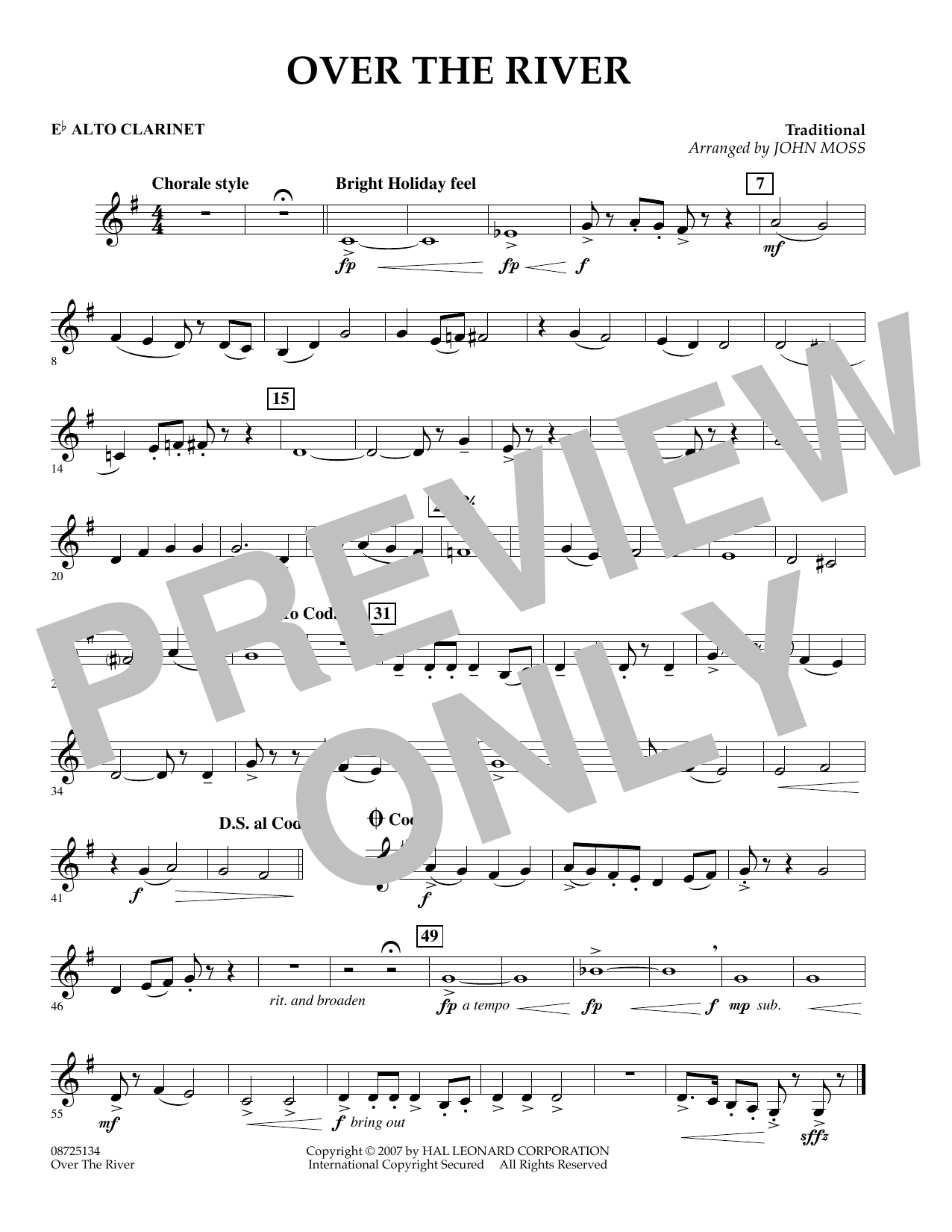John Moss Over the River - Eb Alto Clarinet sheet music preview music notes and score for Concert Band including 1 page(s)