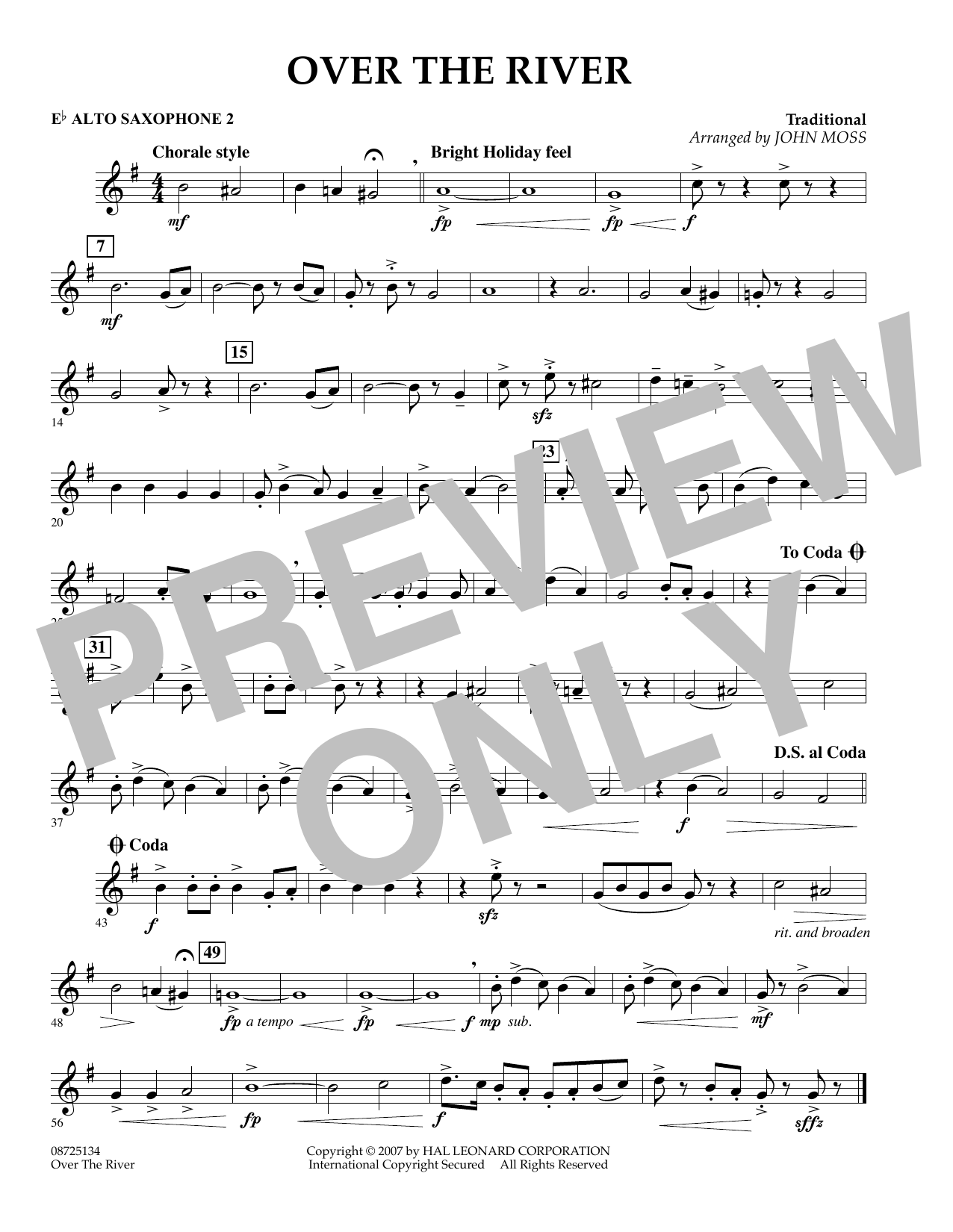 John Moss Over the River - Eb Alto Saxophone 2 sheet music preview music notes and score for Concert Band including 1 page(s)