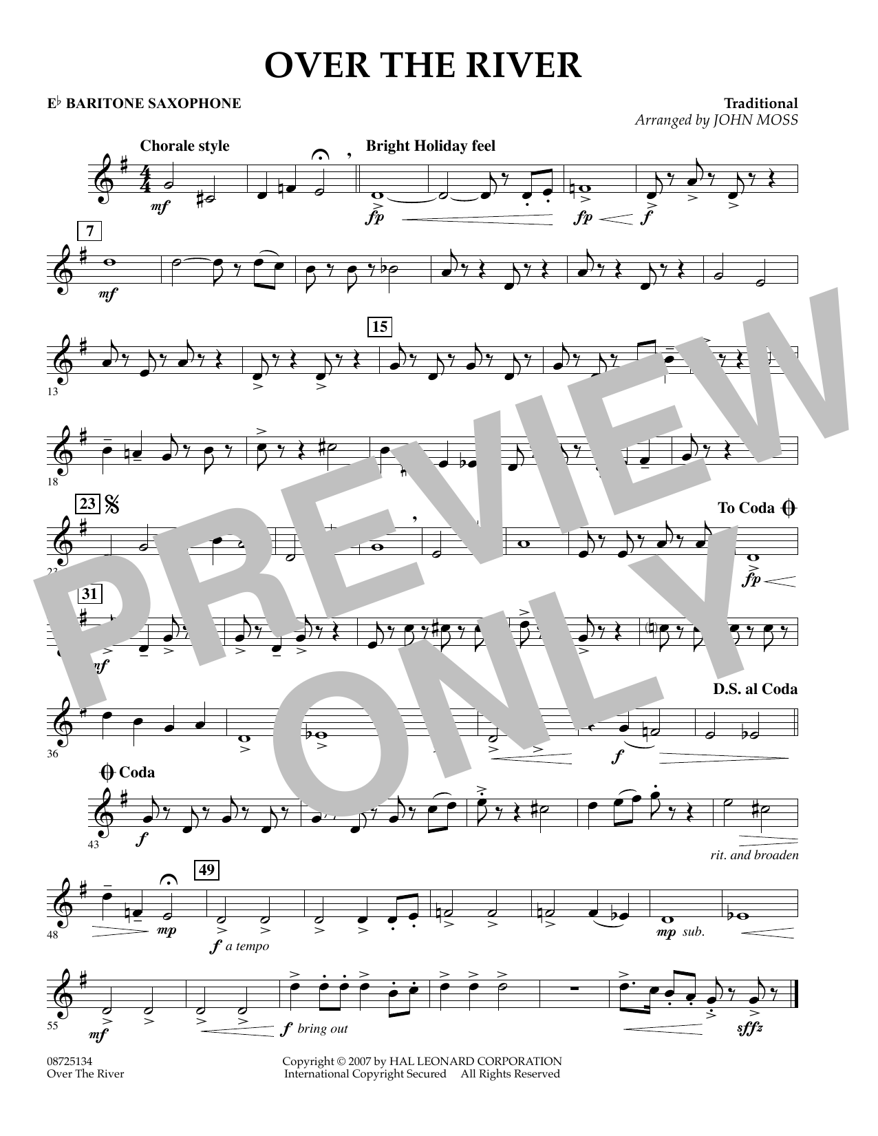 John Moss Over the River - Eb Baritone Saxophone sheet music preview music notes and score for Concert Band including 1 page(s)