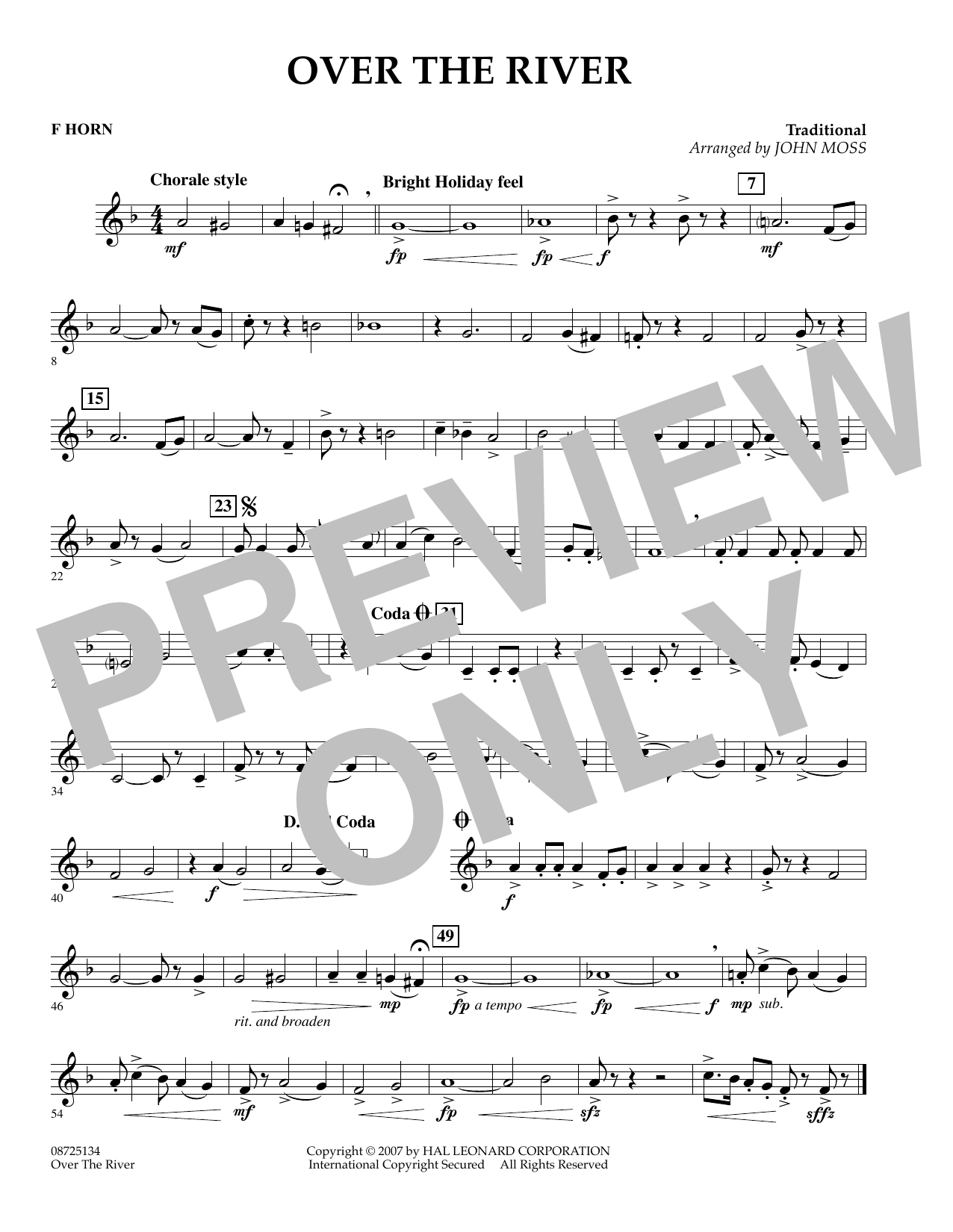 John Moss Over the River - F Horn sheet music preview music notes and score for Concert Band including 1 page(s)