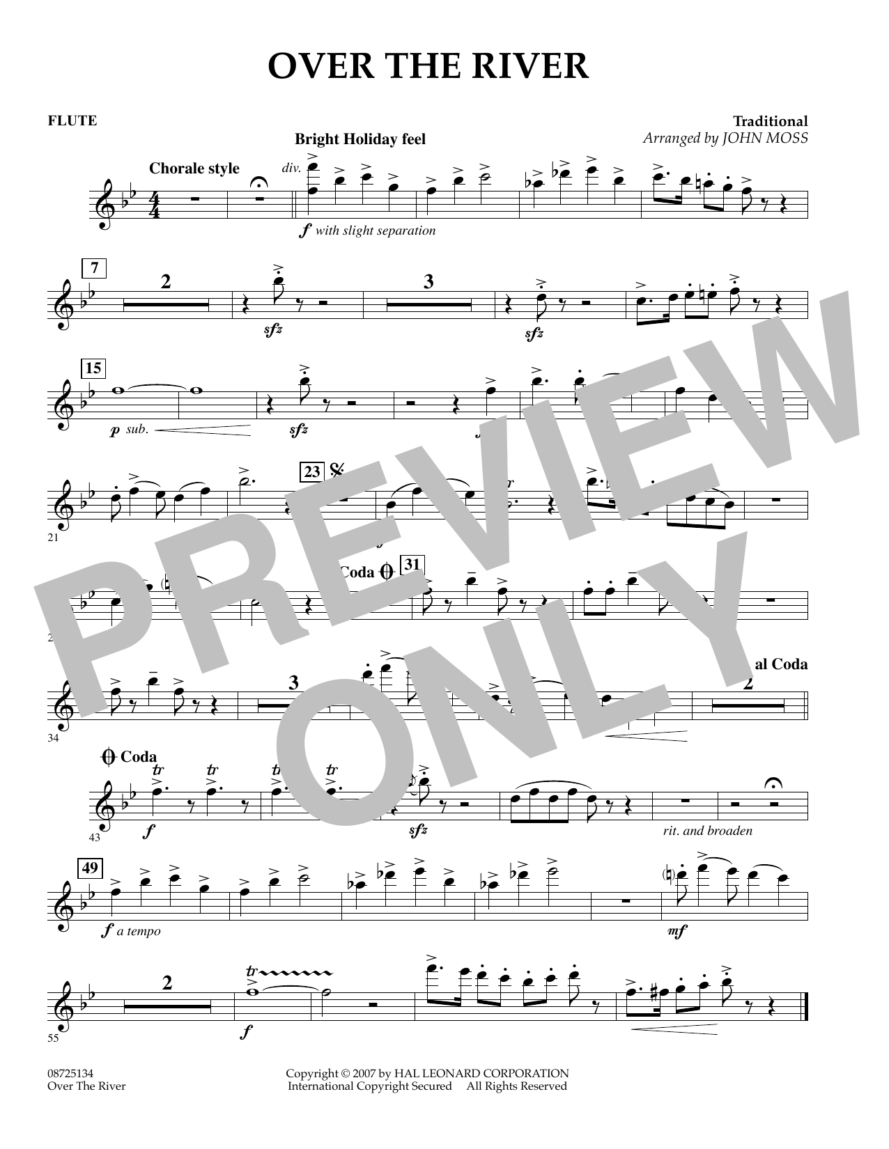 John Moss Over the River - Flute sheet music preview music notes and score for Concert Band including 1 page(s)
