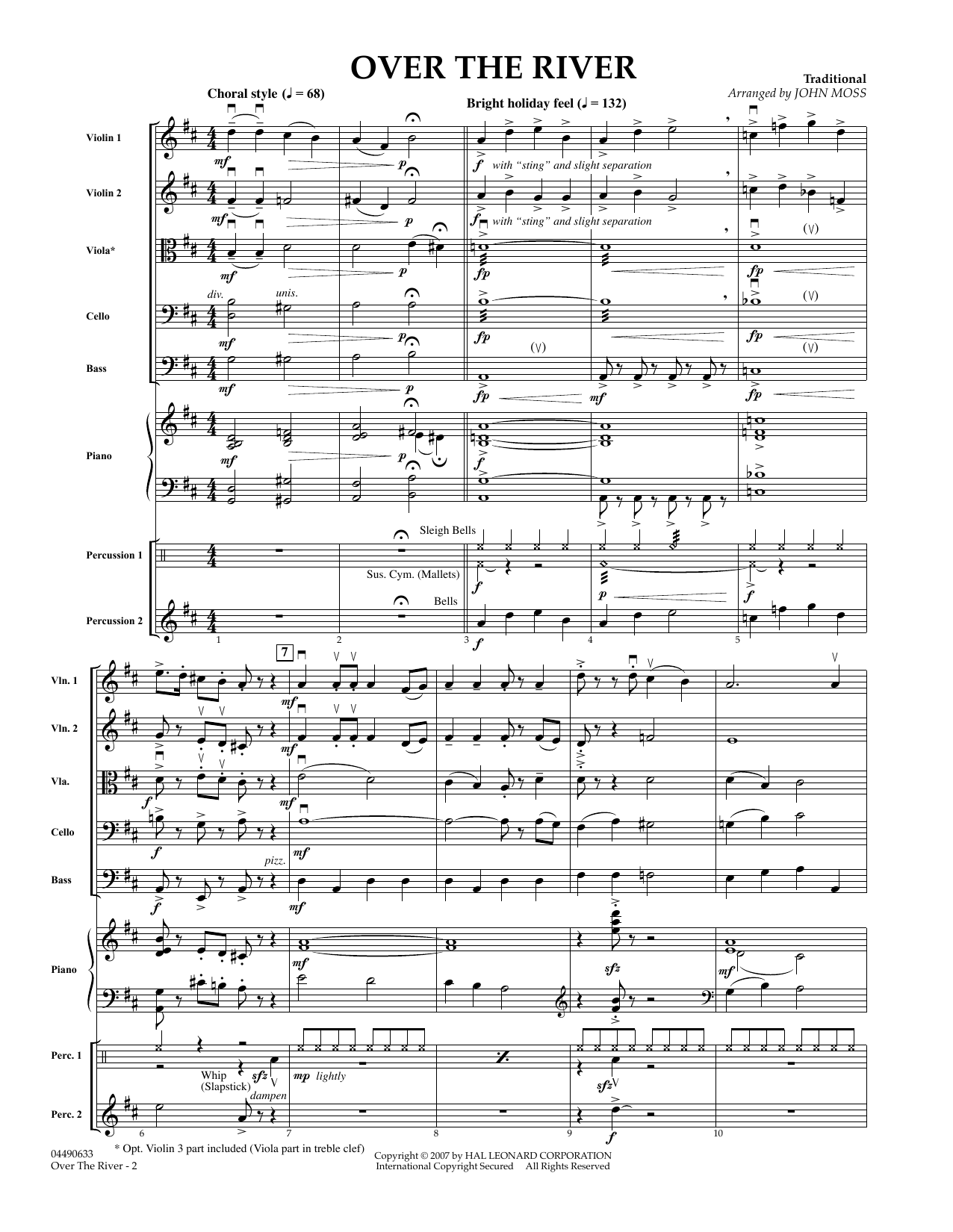 John Moss Over the River - Full Score sheet music preview music notes and score for Concert Band including 10 page(s)