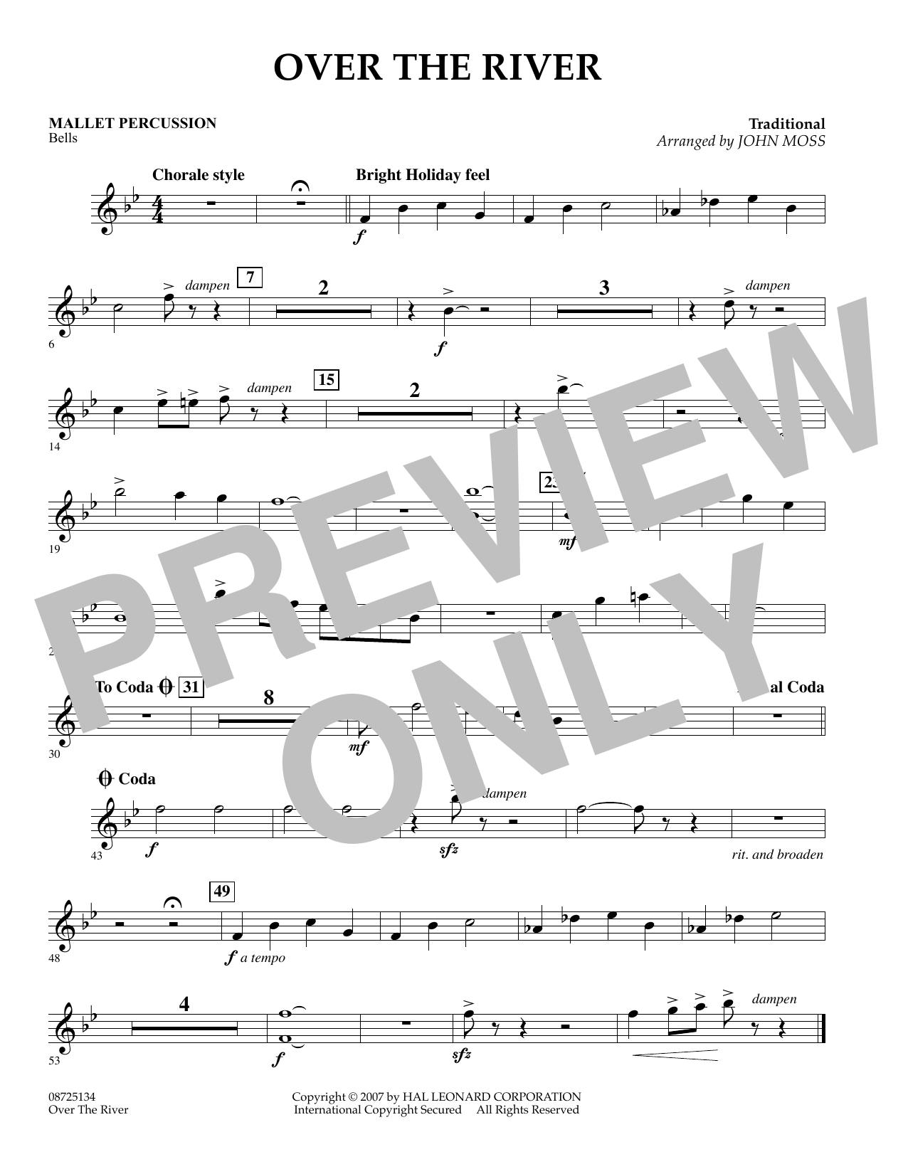 John Moss Over the River - Mallet Percussion sheet music preview music notes and score for Concert Band including 1 page(s)