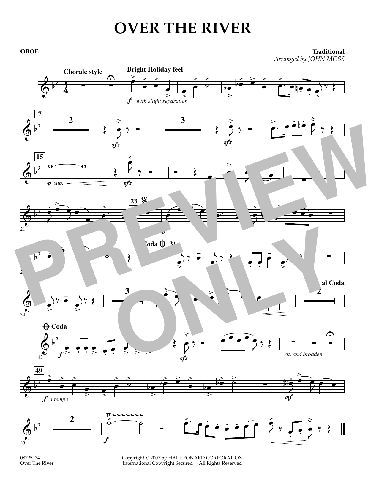 John Moss Over the River - Oboe sheet music preview music notes and score for Concert Band including 1 page(s)